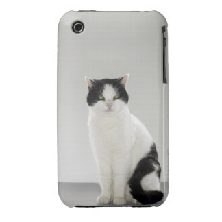 Black and white cat with glowing green eyes iPhone 3 cases