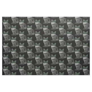 Black and white cat with green glasses fabric