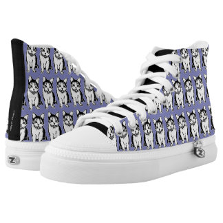 Black and White Cats Print Pewter Shoes Printed Shoes