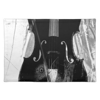 Black and white cello illustration placemat
