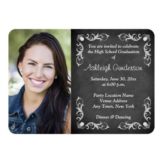 Black and White Chalkboard Photo Graduation Invite