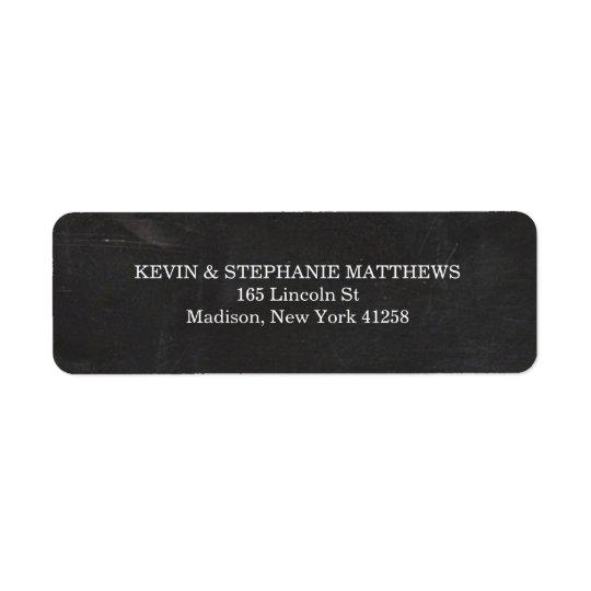 Black and White Chalkboard Return Address Label