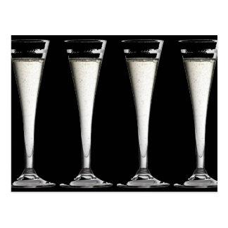 Black and White Champagne Glass Flutes Postcard