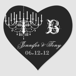 Black and White Chandelier Custom Heart Stickers