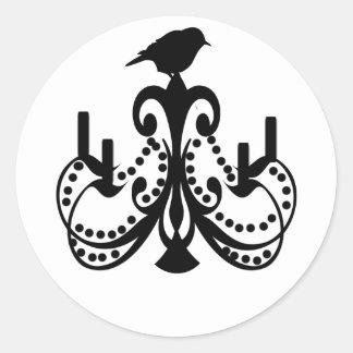 Black and White Chandelier Round Sticker
