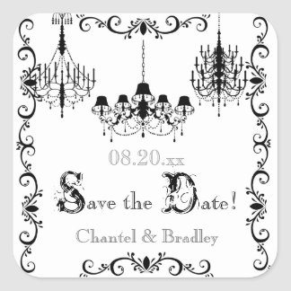 Black and White Chandelier Save the Date Stickers