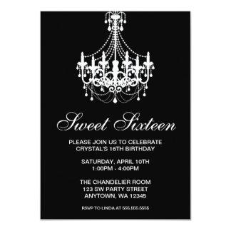 Black and White Chandelier Sweet Sixteen Birthday 11 Cm X 16 Cm Invitation Card
