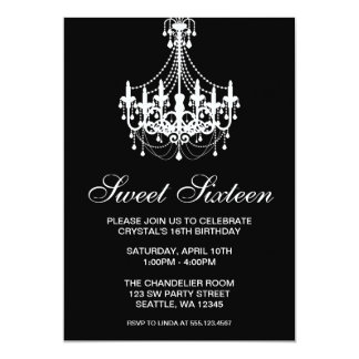 Black and White Chandelier Sweet Sixteen Birthday 13 Cm X 18 Cm Invitation Card