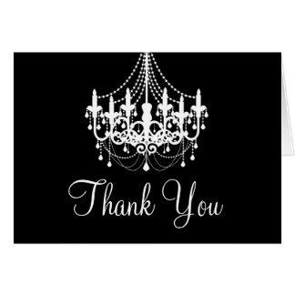 Black and White Chandelier Thank You Note Card