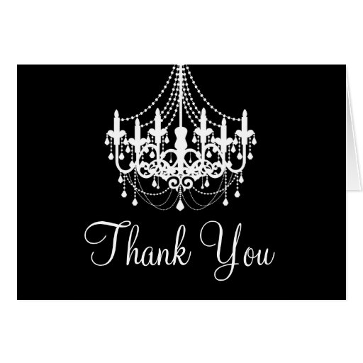 Black and White Chandelier Thank You Note Greeting Cards