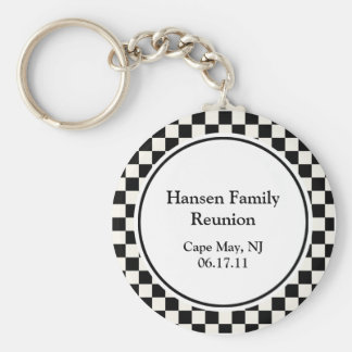Black and White Check Family Reunion Keychain