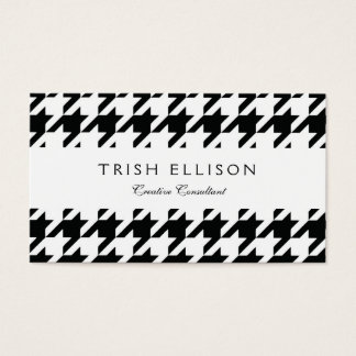 Black and White Check Houndstooth Business Card