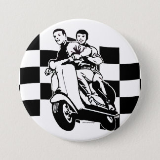 Black and white check scooter riders 7.5 cm round badge