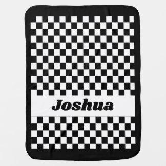 Black and White Checker Flag Baby Blanket