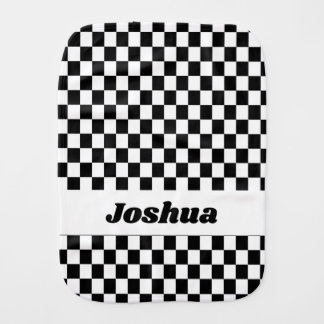Black and White Checker Flag Burp Cloth