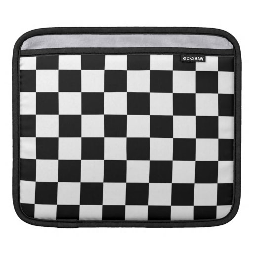 Black and White Checker Pattern Sleeves For iPads