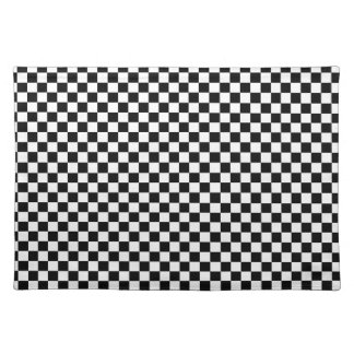 Black and White Checker Pattern Place Mat