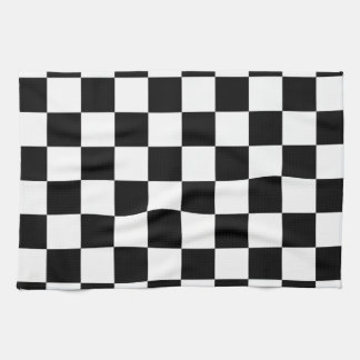 Black and White Checker Pattern Tea Towel