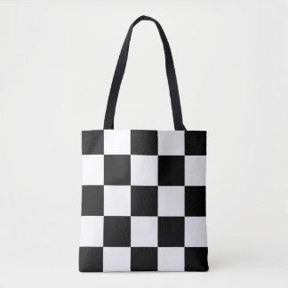 BLACK AND WHITE CHECKER PATTERN TOTE BAG