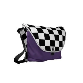 Black and White Checkerboard Courier Bag