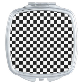 Black and White Checkerboard Mirror For Makeup