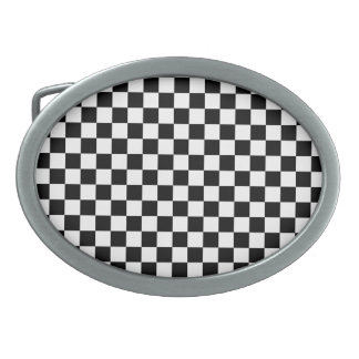 Black and White Checkerboard Oval Belt Buckle