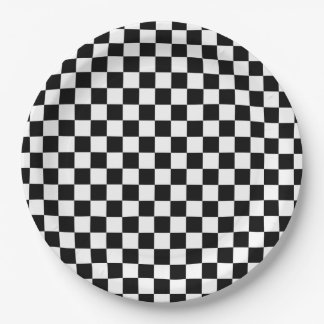 Black and White Checkerboard Paper Plate