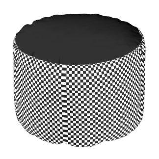 Black and White Checkerboard Pattern Pouf