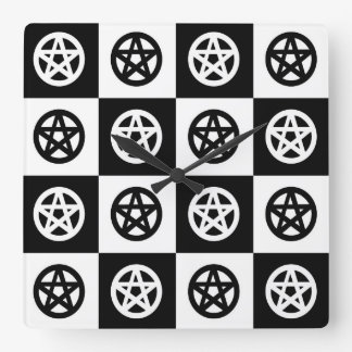 Black and White Checkerboard Pentacles Square Wall Clock