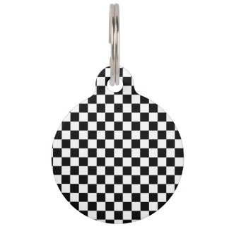 Black and White Checkerboard Pet ID Tag