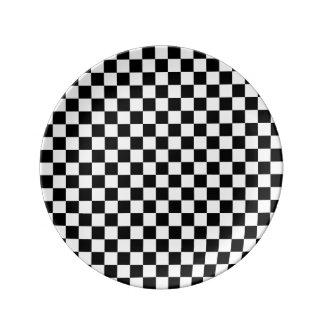 Black and White Checkerboard Plate