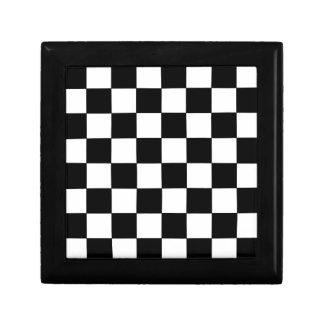 Black and White Checkerboard Retro Hipster Small Square Gift Box