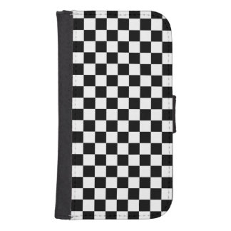 Black and White Checkerboard Samsung S4 Wallet Case