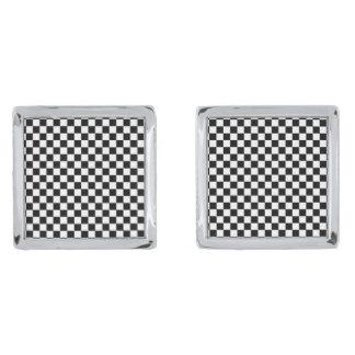 Black and White Checkerboard Silver Finish Cufflinks