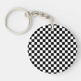 Black and White Checkerboard Single-Sided Round Acrylic Key Ring