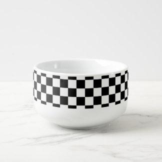 Black and White Checkerboard Soup Mug