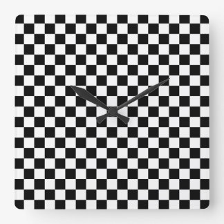 Black and White Checkerboard Square Wall Clock