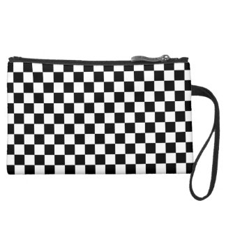 Black and White Checkerboard Suede Wristlet