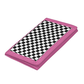 Black and White Checkerboard Tri-fold Wallet