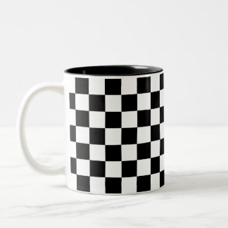 Black and White Checkerboard Two-Tone Coffee Mug