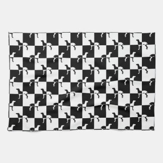 Black and White Checkerboard Weimaraner Tea Towel
