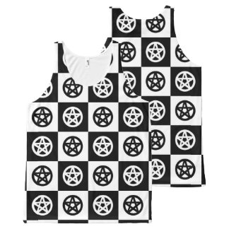 Black and White Checkerboard with Pagan Pentacles All-Over Print Singlet
