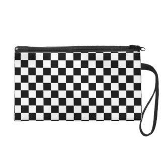 Black and White Checkerboard Wristlet Purse
