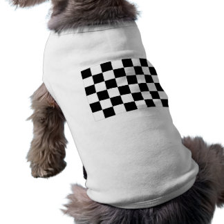 Black and White Checkered Auto Racing Flag Sleeveless Dog Shirt