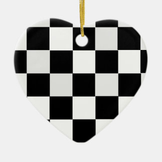 Black and White Checkered Ceramic Heart Decoration