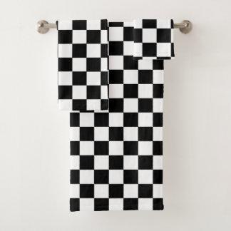 Black And White Checkered Checkerboard Pattern Bath Towel Set