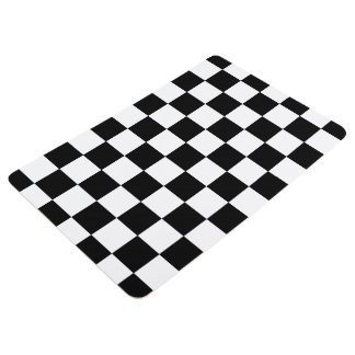 Black And White Checkered Checkerboard Pattern Floor Mat