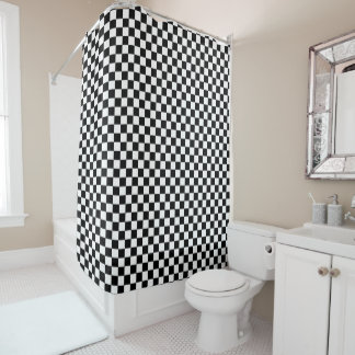 Black And White Checkered Checkerboard Pattern Shower Curtain