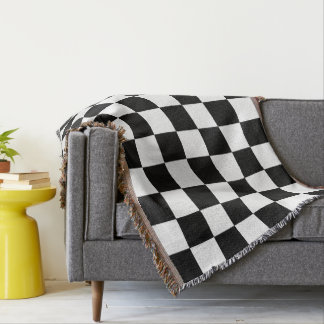 Black And White Checkered Checkerboard Pattern Throw Blanket