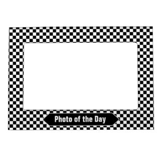 Black and White Checkered Custom Photo Magnetic Frame